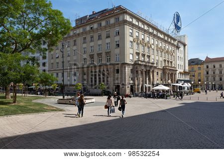 ZAGREB, CROATIA - MAY 13, 2015: View from Bakaceva street towards Ban Jelacic square and the City savings bank