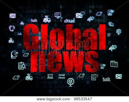 News concept: Global News on Digital background