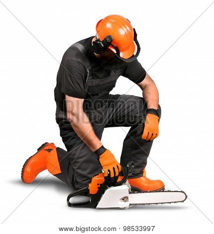 Professional Logger Resting Safety Gear