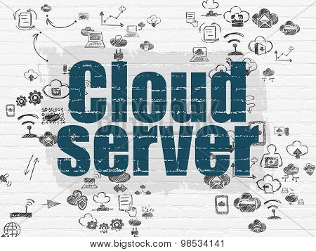 Cloud computing concept: Cloud Server on wall background