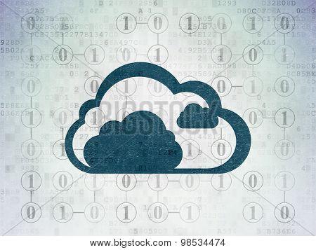 Cloud computing concept: Cloud on Digital Paper background