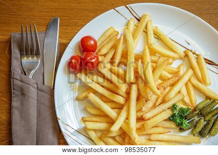 French Fries On The Table In A Cafe