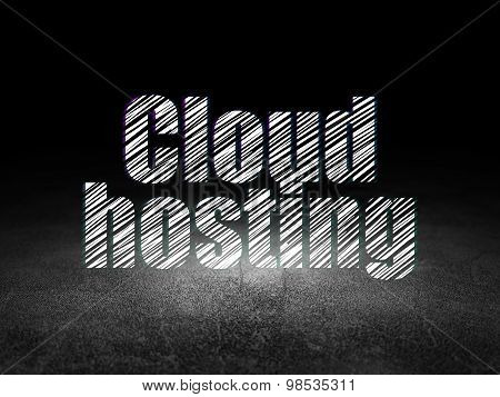 Cloud technology concept: Cloud Hosting in grunge dark room