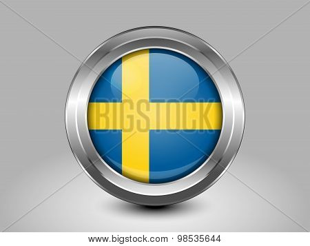 Flag Of Sweden. Metal Round Icon