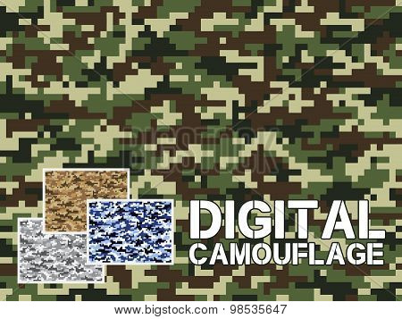 Four Different Colors Digital Camouflage Military Pattern For Background, Clothing, Textile Garment