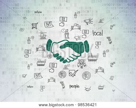 Politics concept: Handshake on Digital Paper background