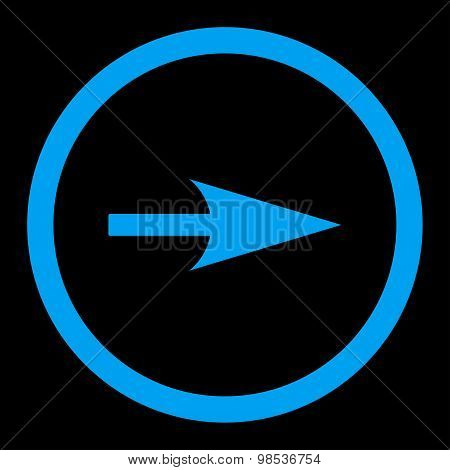 Arrow Axis X flat blue color rounded vector icon