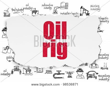 Industry concept: Oil Rig on Torn Paper background