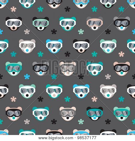 Seamless kids christmas theme grizzly bear animals snow skiing goggles illustration background pattern in vector