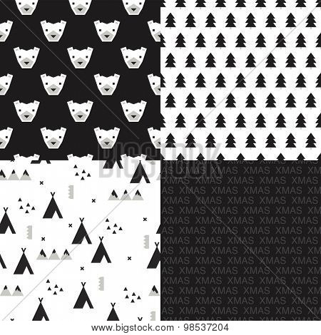 Seamless black and white kids christmas winter theme geometric bear christmas tree typography and winter woodland scandinavian teepee mountain illustration background pattern in vector