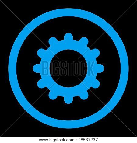 Gear flat blue color rounded vector icon