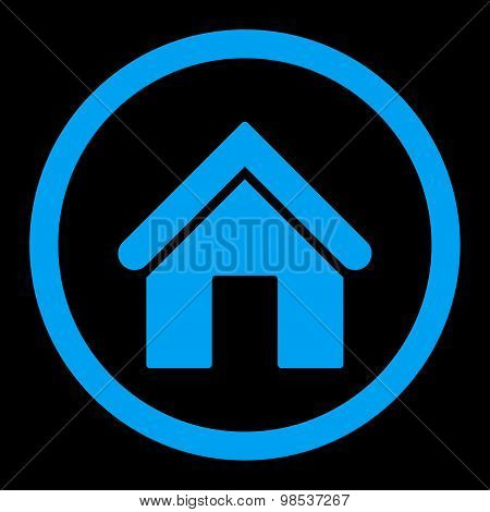 Home flat blue color rounded vector icon
