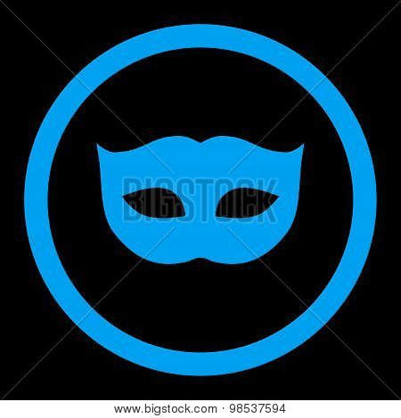 Privacy Mask flat blue color rounded vector icon