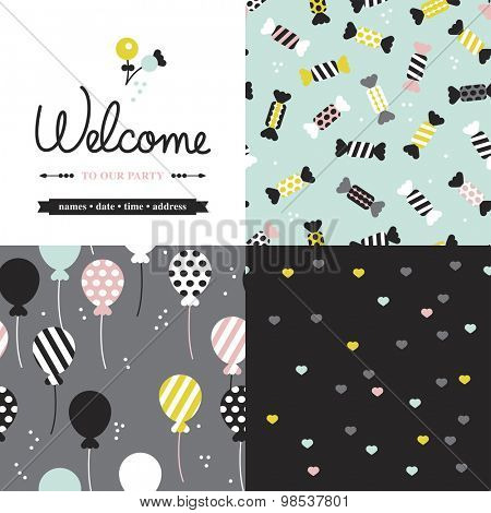 Seamless mint pastel birthday wedding and engagement party illustration background pattern selection and invitation cover template design in vector