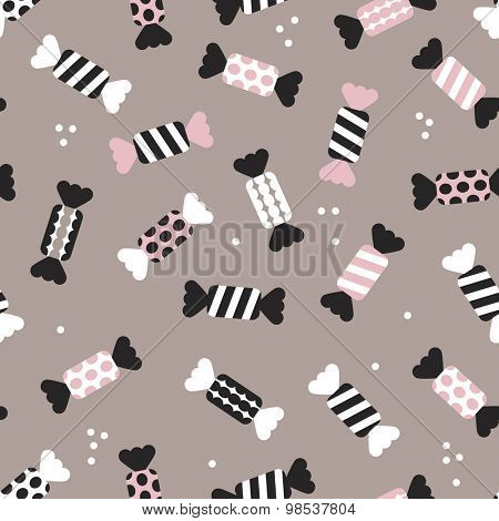 Seamless polka dots and chevron stripes birthday party festive candy vintage style illustration background pattern in vector