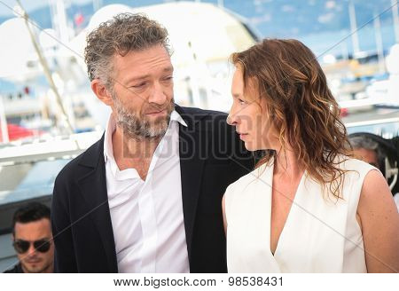 Vincent Cassel, Emmanuelle Bercot  attend the 'Mon Roi' photocall during the 68th annual Cannes Film Festival on May 17, 2015 in Cannes, France.