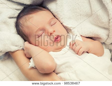Close up image of sleeping newborn baby