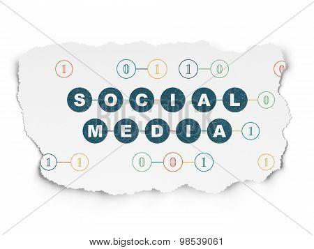 Social media concept: Social Media on Torn Paper background