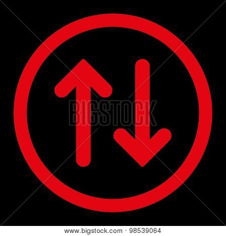 Flip flat red color rounded vector icon