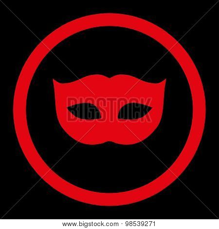 Privacy Mask flat red color rounded vector icon