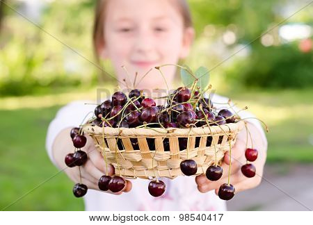 Child Holds A Bowl With Sweet Cherries