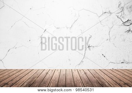 Empty Room Of Grunge Wall And Wooden Floor