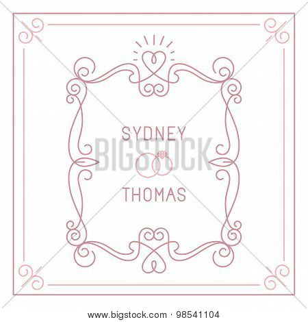 Vector Trendy Linear Frame With Copy Space For Text