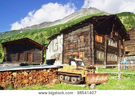 The beautiful  rural landscape with chalet in Tasch.