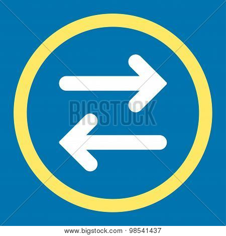 Flip Horizontal flat yellow and white colors rounded vector icon