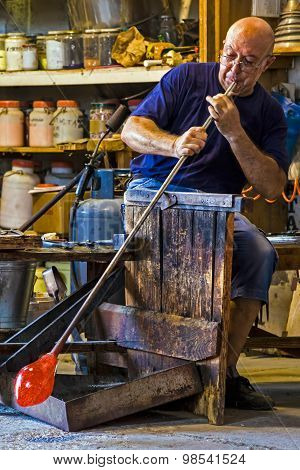 Glassworker In Action In The Murano Glassfactory 1