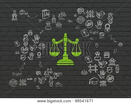Law concept: Scales on wall background