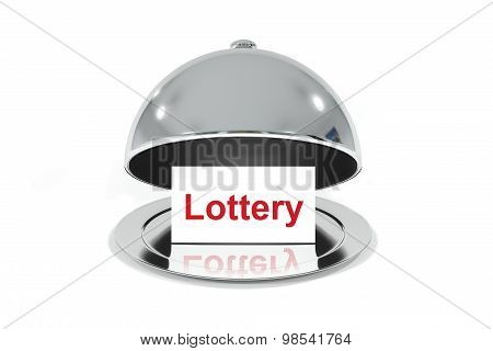 Open Silver Cloche With White Sign Lottery