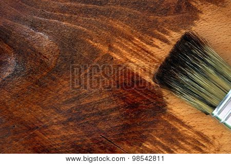 Staining wooden surface. Home decorating concept.