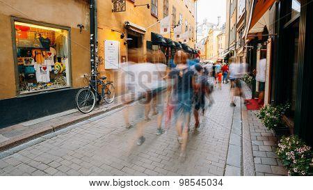 Street in the old town of Vasterlanggatan in Stockholm in Sweden