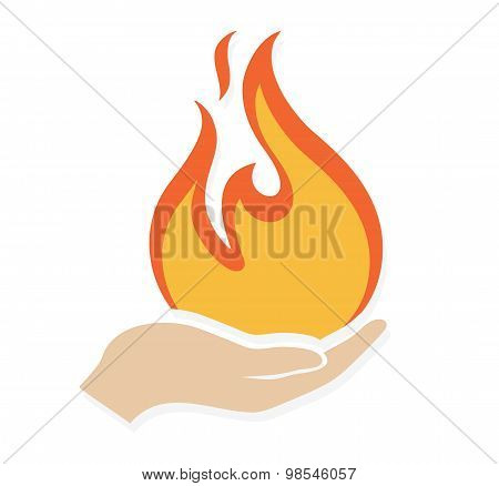 Fire in hand logo or icon