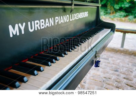 Urban piano in city park, Luxembourg