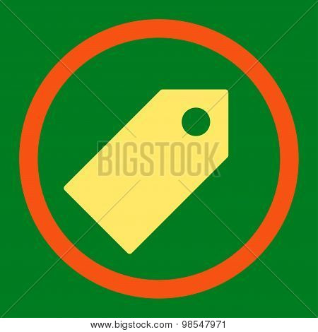 Tag flat orange and yellow colors rounded vector icon