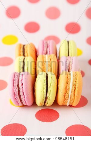 French Macarons On Colorful Background