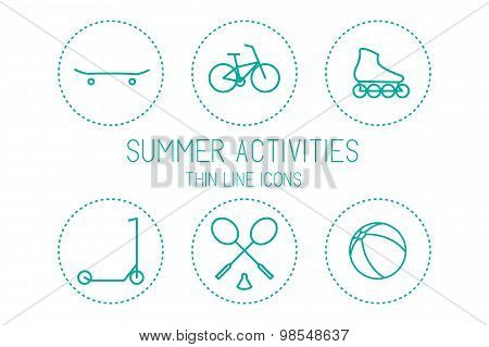 Bicycle, skateboard, roller skate, scooter, badminton, ball - sport and recreation, silhouettes isol