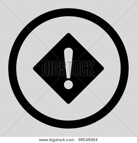 Error flat black color rounded vector icon