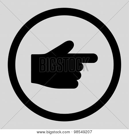 Index Finger flat black color rounded vector icon