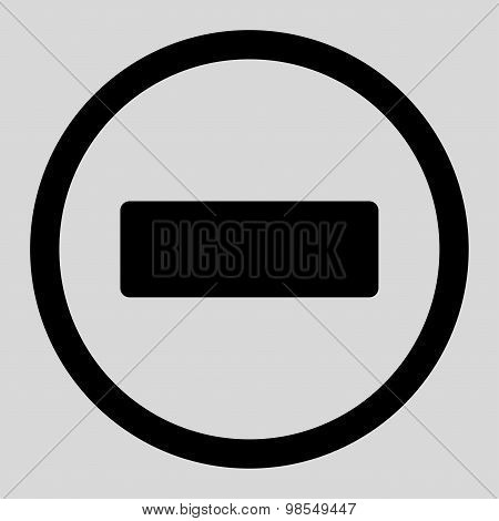 Minus flat black color rounded vector icon
