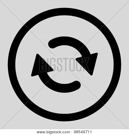 Refresh flat black color rounded vector icon