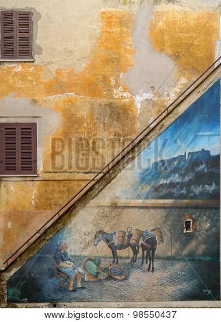 Mural Painting On An Old House On The Outdoor Steps