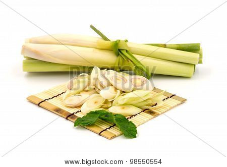 Lemongrass slice and the citronella on white background.