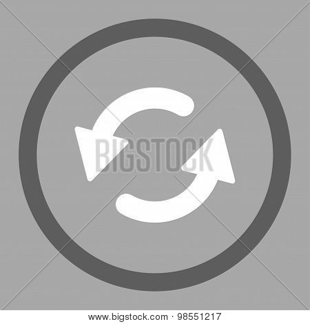 Refresh Ccw flat dark gray and white colors rounded vector icon