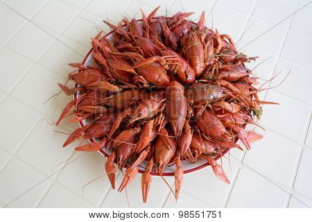 Plate With Boiled Crayfish