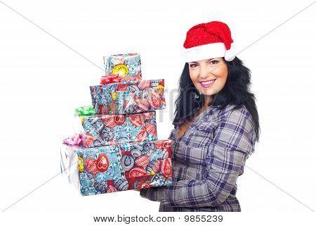 Sonriente con regalos de Navidad