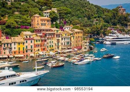 Portofino, Italy - July 2015 - A View Of The Town From The Nearby Hill