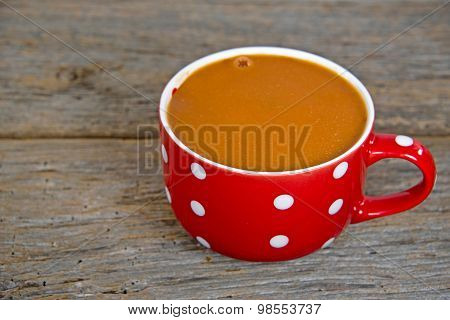 tomato soup in polka dot soup mug